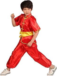 59f7ee890ee99 KINDOYO Manche Courte Costume Combinaison Vêtement Pantalon Traditionnelle  Chinoise Tai Chi Kung-fu Performance Garçon