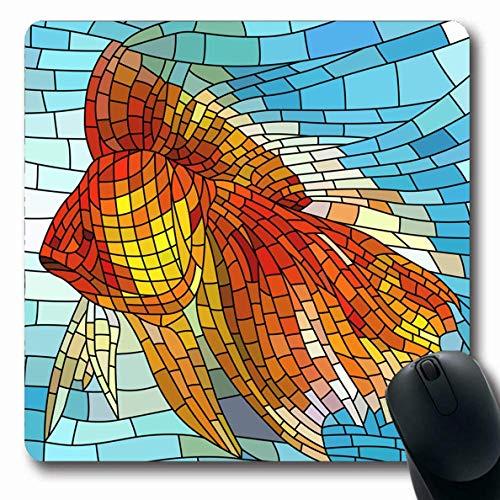 Mousepad Oblong Stilisierung Wassereinstellung Buntes Fenster Fischglas Design Natur Orange Pastell Kreatives Mosaik Rutschfeste Gummi Mauspad Büro Computer Laptop Spielmatte