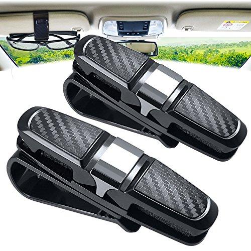 amison Brillenhalter für Auto Sonnenblende Clip, 2 Stück Doppelt Sonnenbrille Brillenhalterung mit Ticket-Kartensteckplatz (Silber)