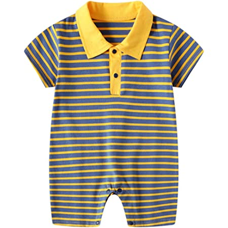 Bebé Niño Mono Polo de Manga Corta Body de Algodón Mameluco de Rayas Peleles de Verano Pijama, 0-3 Meses
