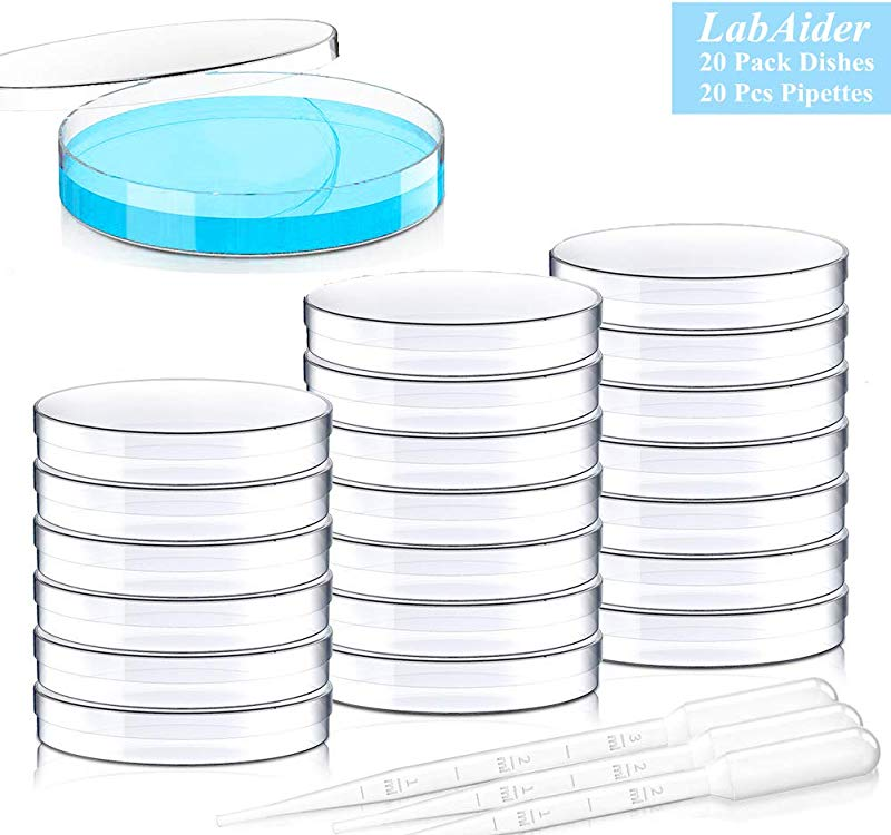 20 Pack Sterile Plastic Petri Dishes With Lid 90mm Dia X 15mm Deep With 20 Plastic Transfer Pipettes 10Pcs3ml 10Pcs2ml