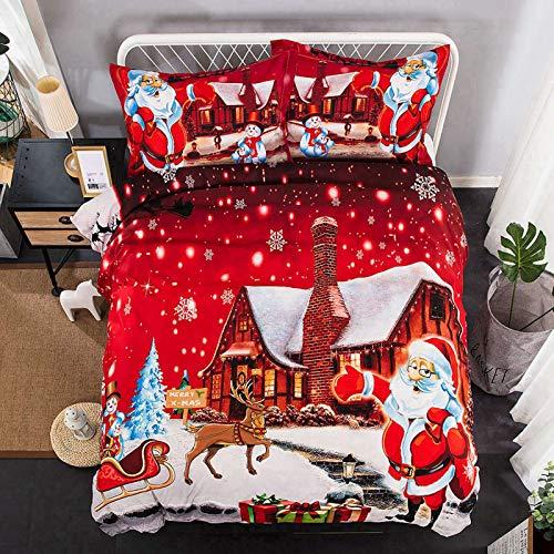 RTSE Christmas Duvet Cover Set, Red, Super Soft Duvet Cover Bedding Set Merry Christmas, Adult Bedroom Boy Girl (King 220 x 240 cm)