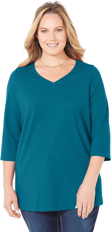 Catherines Women's Plus Size Petite Suprema 3/4 Sleeve V-Neck Tee