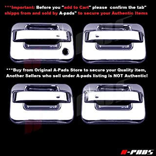 A-PADS 4 Chrome Door Handle Covers for Ford F150 & SVT Raptor 2004-2014 - WITHOUT Passenger Keyhole & WITHOUT Keypad