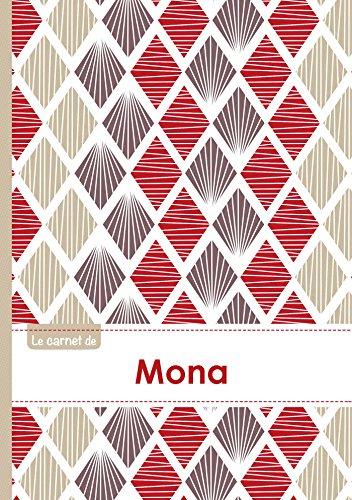 Le carnet de Mona - Lignes, 96p, A5 - Pétales Japonaises Violette Taupe Rouge