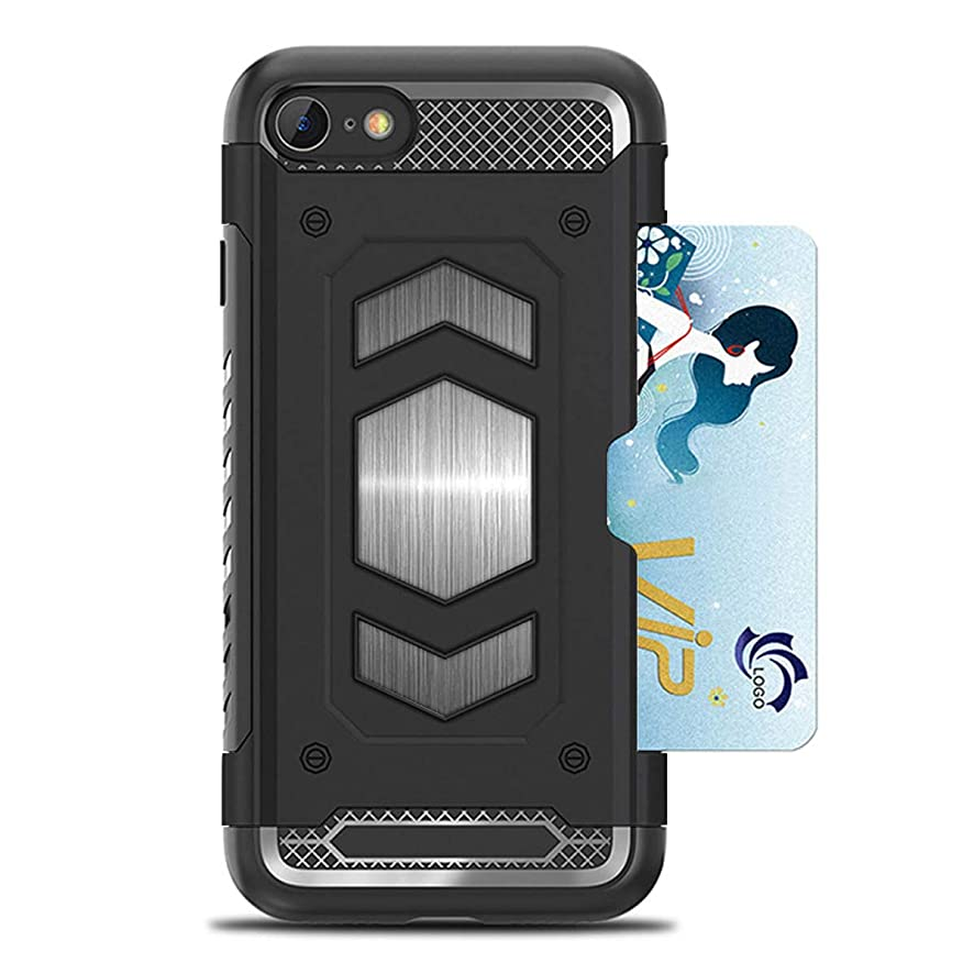 iPhone 8 Plus Case,iPhone 7 Plus Case,Heima Slim Armor Shockproof Heavy Duty Protection Dual Layer TPU&PC Hybrid Case Cover with Card Holder&Magnet Metal Plate for iPhone 7 8 Plus(HY Series-Black)