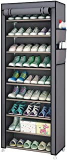 Fabric Shoes Rack Cabinet Storage Closet Organizer Non Woven 10 Tiers Ultra Wide 27 Pairs Space Grey Portable Dustproof fo...