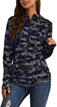 Women's Casual Long Sleeve Striped Stitching Loose Hooded Pullover Sweatshirt Tops T-Shirt Blouses (S-2XL)