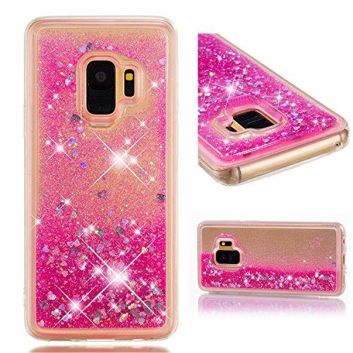 Galaxy S9 Housse Paillettes Rose, Fluide Flottant Liquide Sables Mouvant Glitter Liquide Paillette Protection Coque Antichoc Silicone Souple Brillante Étui Compatible avec Samsung Galaxy S9 G960