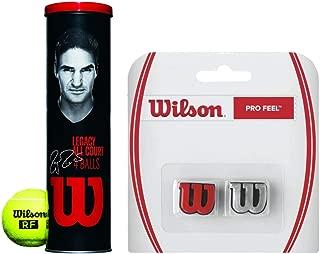 Wilson Roger Federer RF Legacy Tennis Balls - (1) Can of 4 - Starter Kit Bundled with (1) Pro Feel Tennis String Dampener (Great Stocking Stuffers)