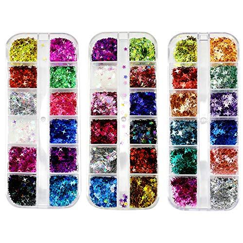 3 Cajas de Confeti de Estrella Lentejuelas de Estrellas para Artesanía Brillo Confeti para Decoración de Boda Fiesta de Fiesta de Uñas