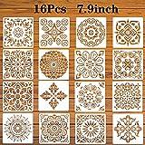 LYPER 7,9x7,9 Zoll große Mandala-Schablonen,16 Stück Reusable Painting Stencils Verschiedene...