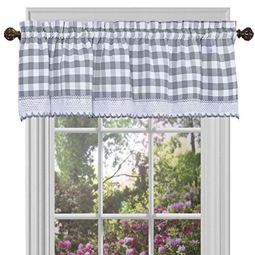 "Achim Home Furnishings Valance Buffalo Check Window Curtain, 58"" x 14"", Grey & White"