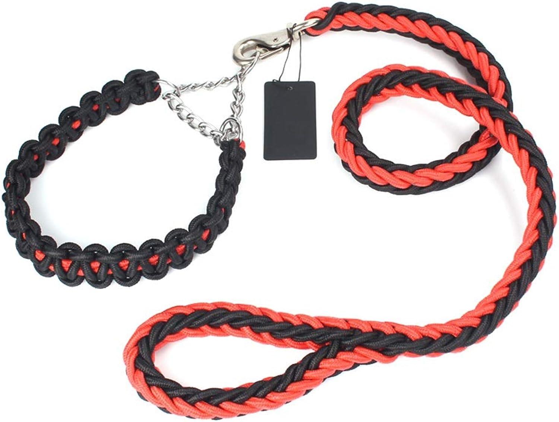 Dog Leash, Nylon Durable Dog Lead with Smooth Leash Supports Medium Large Dogs Collar Dog Chain Leash (color   Reddish Black, Size   XXL)