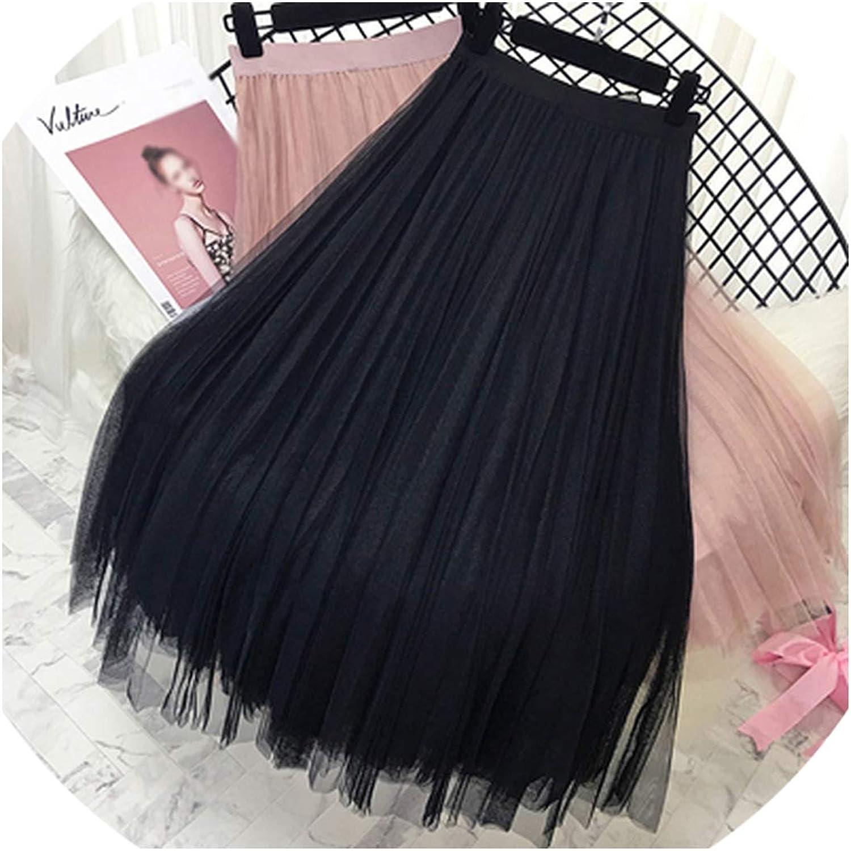 Summer Skirts Womens Elastic High Waist Tulle Mesh Skirt Long Pleated Tutu Skirt
