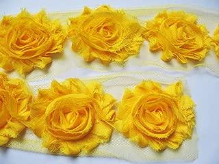 YYCRAFT 3 Yards(40PCS) Bright Yellow Shabby Chiffon Fabric Flowers 2.5
