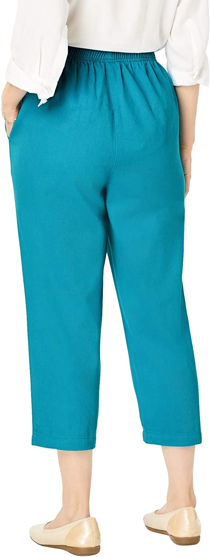 Woman Within Women's Plus Size Elastic-Waist Cotton Capri Pants