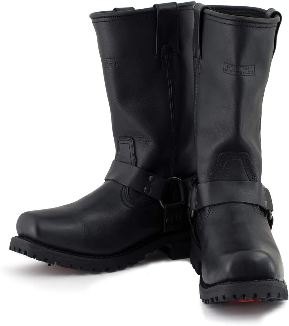 Xelement 1443 Mens Black Harness Motorcycle Biker Boots with Lug Sole 8.5