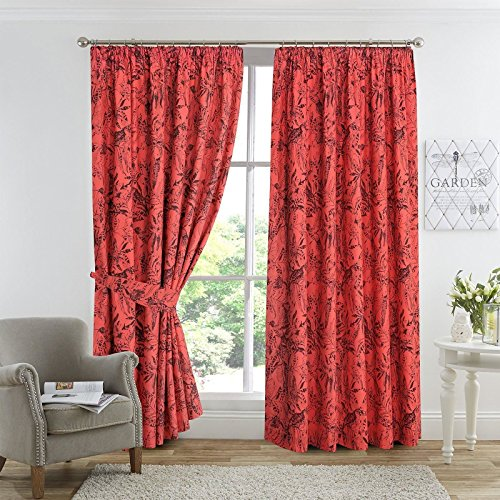 "Nimsay Home Amazon cortina con forro de polialgodón, algodón poliéster, Dark Coral / Terracotta, 66""x90"""