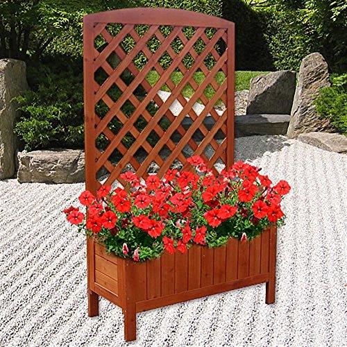 Melko Pflanzkasten mit Spalier Holz Rankhilfe Pflanzkübel mit Sichtschutz Rankgitter mit Blumenkasten
