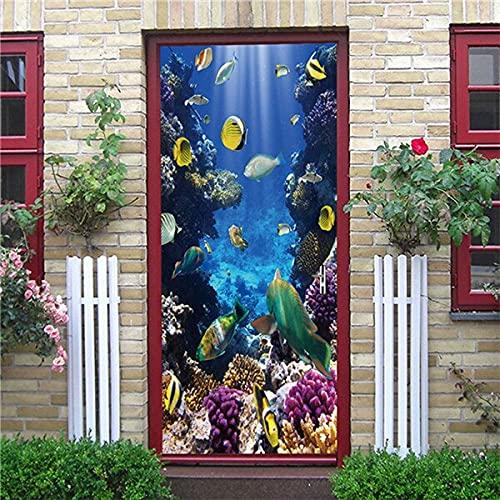 DFKJ Autoadhesivo Renovar Decoración para el hogar Etiqueta de la Puerta Impresión Animal Art Papel Pintado Impermeable Mural Armario Renovación Calcomanía Imágenes A26 77x200cm