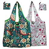 MNEUSHOP 2 Pack Reusable Grocery Bags Foldable Large Washable Shopping Bags Eco Friendly Shopper Tote Bags with Pocket Shoulder Strap for Daily Use Travel Take Out Storage
