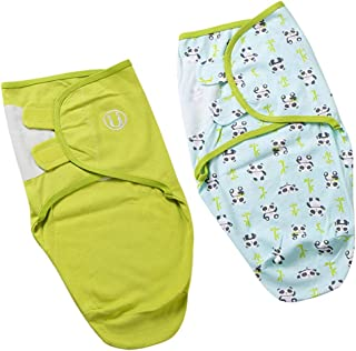 simhoa Pack of 2 100% Cotton Swaddle Adjustable Sleep Bag Wrap for Newborn Babies - Green, 0-2 Months