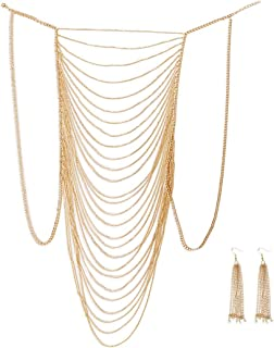 with Ear Ring, Sexy Belly Women Golden Tassel Crossover Bikini Body Chain Necklace