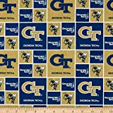 NCAA Georgia Tech Yellow Jackets Broadcloth, Quilting Fabric by the Yard
