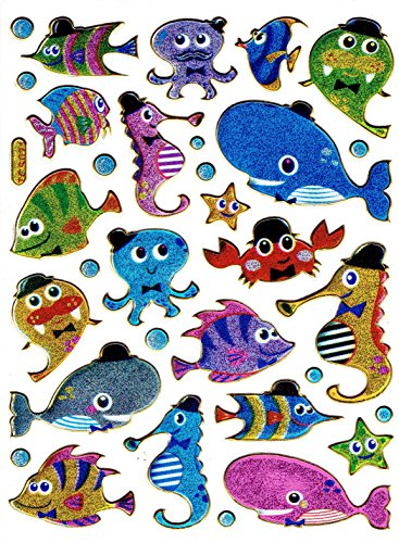 Vissen siervissen Aquarium Wal zeepaardje inktvis krab kreeft sticker 32-delig 1 vel 135 mm x 100 mm sticker knutselen kinderen party metallic look