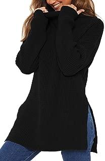 Women's Long Sleeve Mock Neck Side Split Chunky Knit Pullover Sweater
