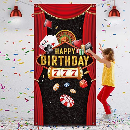 Telón de Fondo Cabina de Fotos de Fiesta de Cumpleaños de Las Vegas Casino Cubierta de Puerta de Fotografía Nocturna de Casino Fondo de Decoración de Pared de Happy Birthday, 6 x 3 Feet