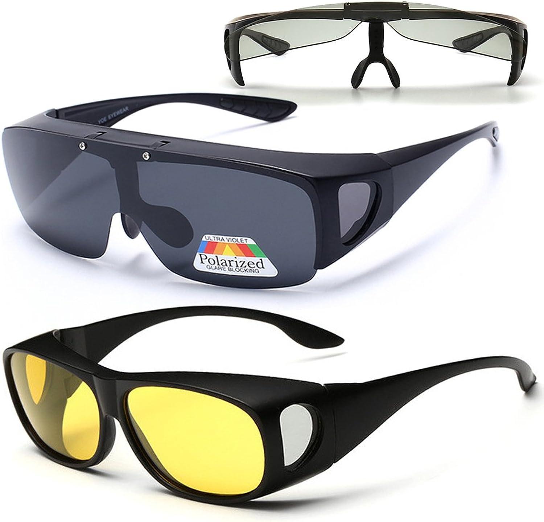 2 Value Pack, HD Polarized Flip Up Wraparounds Sunglasses + UV400 Night Vision