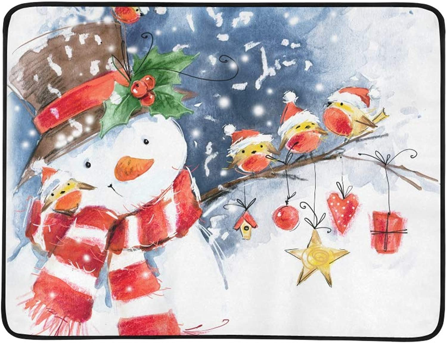 Watercolor Snowman Cute Bird Snow Snowflake Pattern Portable and Foldable Blanket Mat 60x78 Inch Handy Mat for Camping Picnic Beach Indoor Outdoor Travel