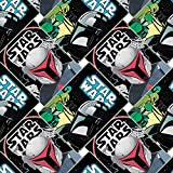 Star Wars Fabric Mandalorian Poster Collage in Black 100% Premium Quality Cotton Fabric by The Yard