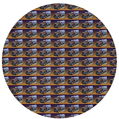 N/A Stoel Vloer Anti-Slip Ronde Matten - Home Area Out of Picture Peterbilt Dump Truck Art Decor Tapijten, Slaapkamer, Badkamer, Keuken Deurmat, Comfortabele Kids Wasbare Splat Mat Deken