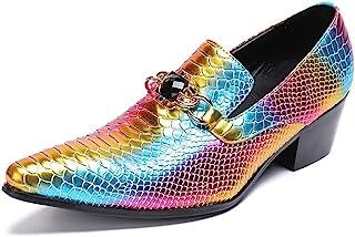 Rui Landed ファッションオックスフォード男性スリップオンスタイル高品質本革人格多色フィッシュプリント防水フロントメタルとダイヤモンドの装飾 (Color : Orange, サイズ : 24.5 CM)