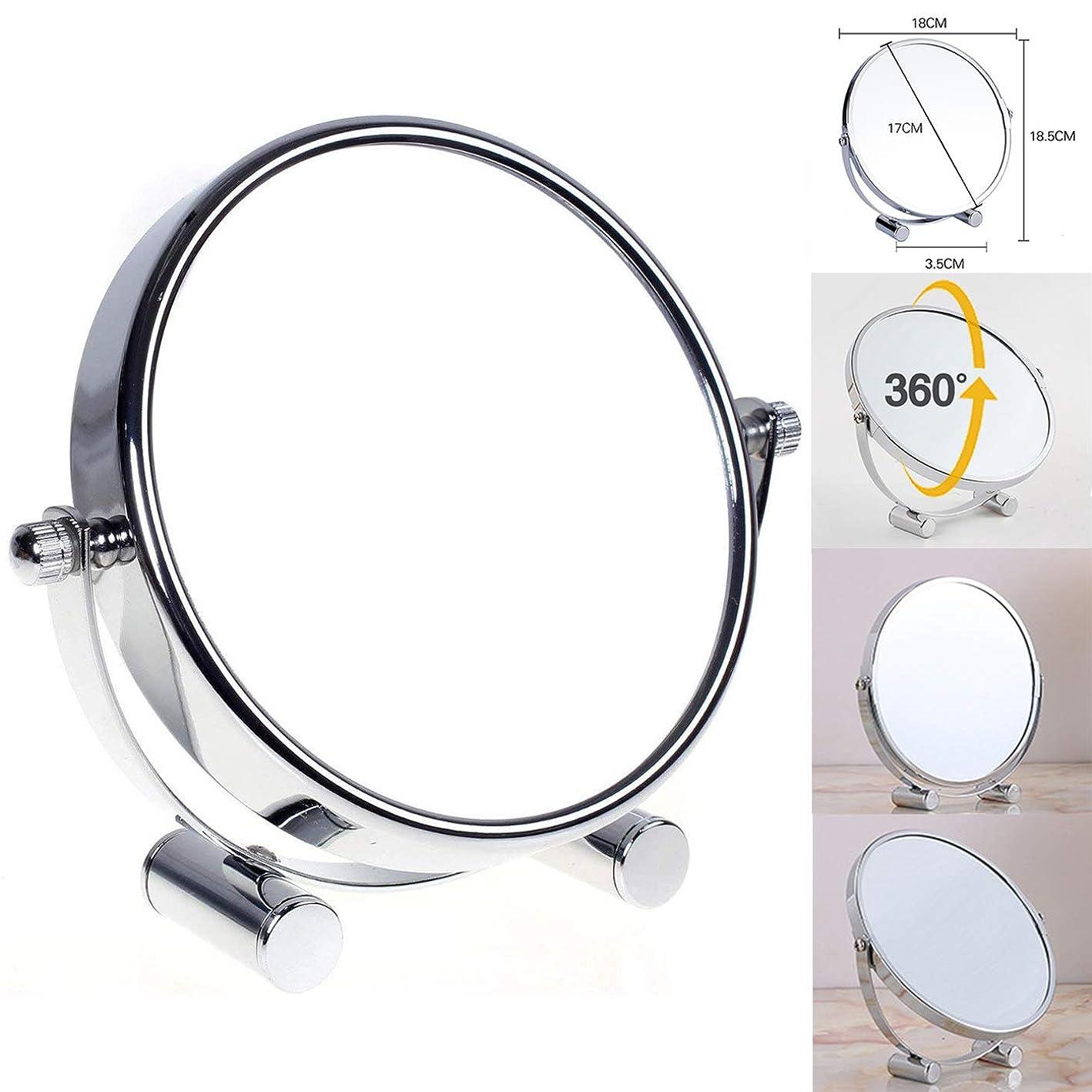 明確な教育スポーツマンデスクトップ両面化粧鏡2倍拡大美容メタルミラー浴室化粧台鏡
