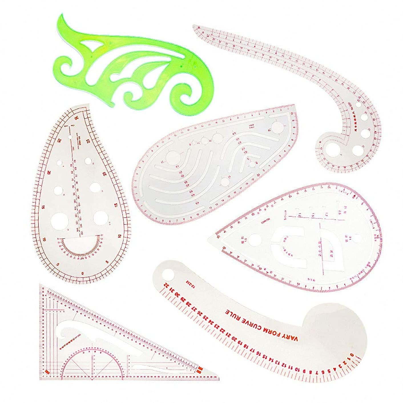 7 Pieces French Metric Ruler,7 Styles Plastic Sew Ruler Curve Shaped Measure Ruler for Dressmaking, Tailoring, Fashion Designing, Pattern Grading, DIY Clothing,