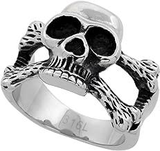 Sabrina Silver Stainless Steel Skull and Cross Bones Ring Biker Rings for Men 5/8 inch Long, Sizes 9-15