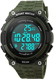 Gosasa Easy Read Waterproof Sports Watches Men Women Army Military Watch Stopwatch 3D Pedometer Led Digital Wristwatch