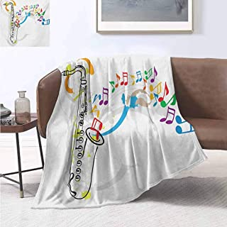 jecycleus Jazz Music Luxury Special Grade Blanket Celebration Festival Theme Colorful Artwork with Music Notes and Saxophone Multi-Purpose use for Sofas etc. W57 by L74 Inch Orange Green Red