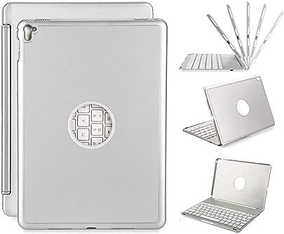 NBWS Tastatur H lle iPad Pro 9 7 Ultra-Thin iPad H lle mit Farben LED-Hintergrundbeleuchtung Bluetooth-Tastatur f r Apple iPad Pro 9 7 Zoll-Silbergrau Schätzpreis : 60,26 €