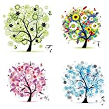 Labellevie 4 Pcs DIY Kit Broderie Point De Croix 45cm x 45cm: Arbre de vie