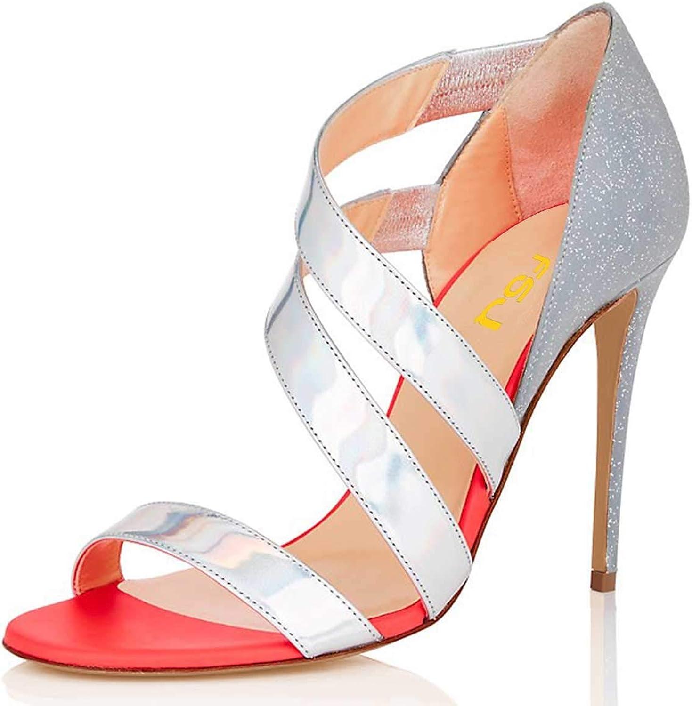 FSJ Women Fashion Strappy High Heeled Sandals Open Toe Stiletto Dress Pumps Party shoes Size 4-15 US