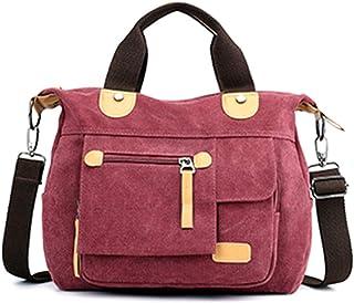 Defeng Schultertasche Canvas Tasche Freizeit Handtasche Cross Body Unisex Umhängetasche für Frauen Lila-rot