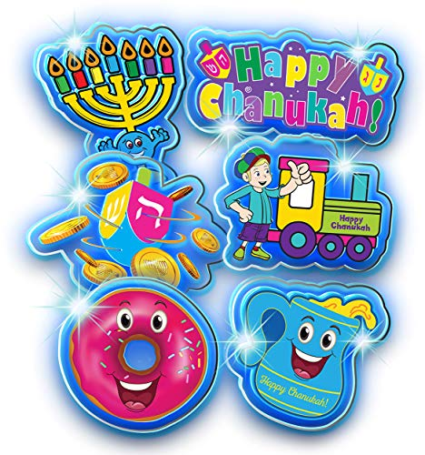 Izzy 'n' Dizzy Hanukkah LED Window Gel 6 Piece - Hanukkah Décor - Holiday Party Decoration - Happy Chanukah Window Gel