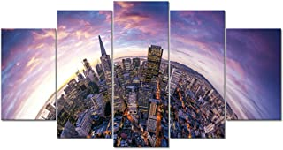 LevvArts - 5 Pieces Modern Canvas Painting Wall Art Amazing San Francisco Aerial View from Sea Side City Landscape Picture Printed on Canvas Giclee Artwork for Home Decoration