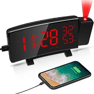LATEC Réveil Projection, Radio Réveil Projection Plafond Projecteur 180° avec écran Incurvé à LED 5 '' , 3 Niveaux de Lumi...