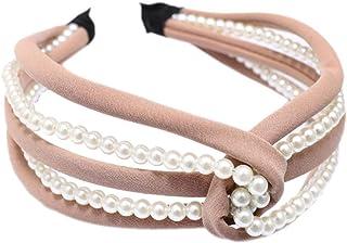 Bodhi2000 - Fascia per capelli larga da donna, con perle sintetiche